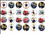 24 x Fireman Sam Wafer Rice Paper Bun Cake Top Toppers